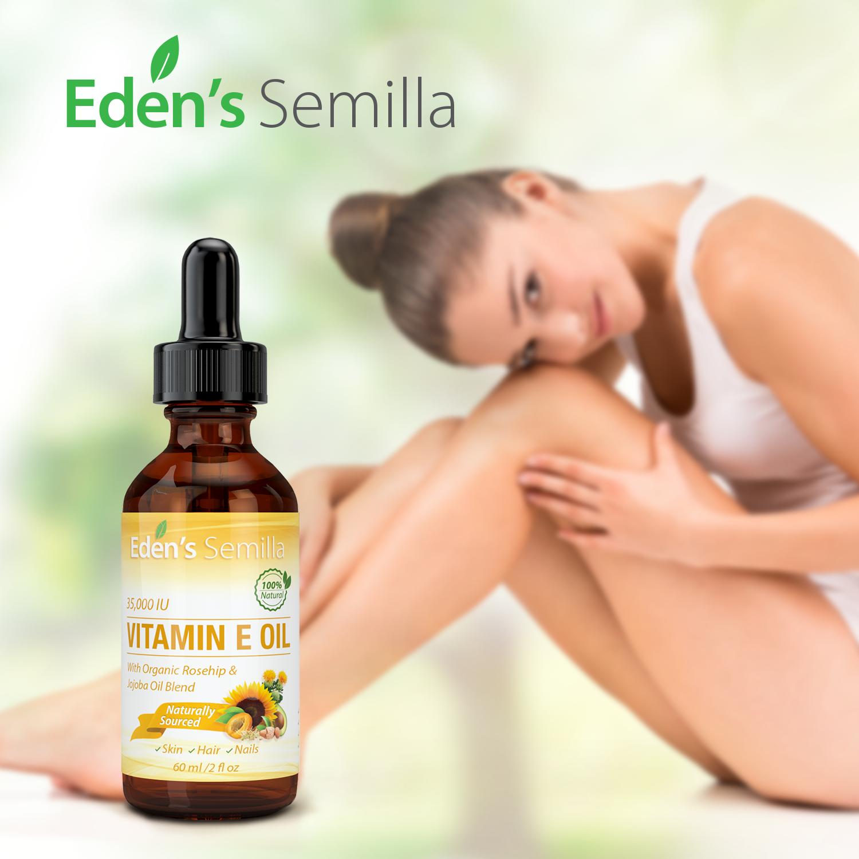 100% Natural Vitamin E Oil – 2 OZ (Dropper) – Eden\'s Semilla